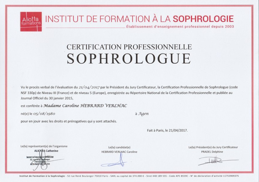 RNCP sophrologue Caroline Hebrard